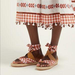 Dodo Bar Or Gingham wrap sandals NIB! Size 40